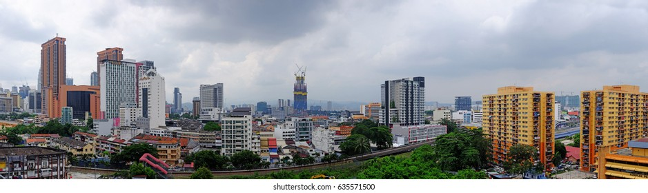 KUALA LUMPUR - MAY 7, 2017: Panoramic view of Kuala Lumpur city skyline from the old ward of Pudu in Jalan Pudu, KL.