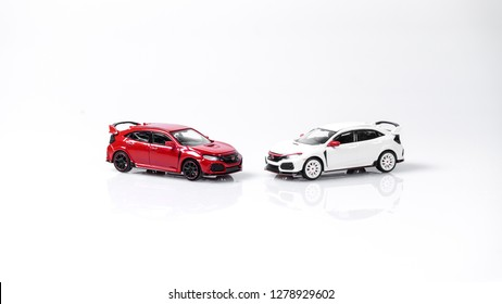Kuala Lumpur, MY - Jan. 9: Miniature of Honda Civic Type R on plain background.   The Honda Civic Type R or Shibikku Taipuāru is the highest performance version of the Honda Motor Company of Japan
