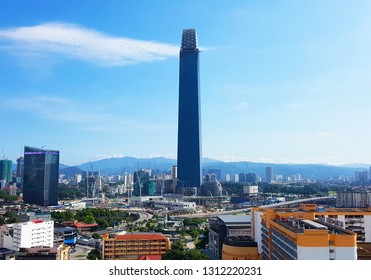 Kuala Lumpur, MY - JANUARY 13, 2019: Scenery of Malaysia capital cityscapes that have the Exchange 106 Building as landmark point, viewing from Pudu City.