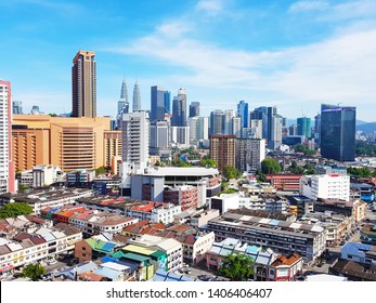 Kuala Lumpur, MY - JANUARY 13, 2019: Scenery of Malaysia central capital cityscapes that have a lot of various beautiful buildings, viewing from Pudu City.