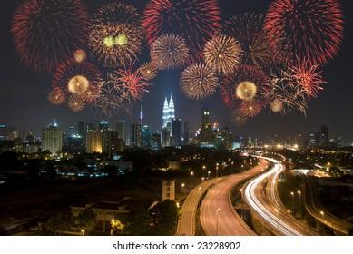 kuala lumpur night view during fireworks celebration