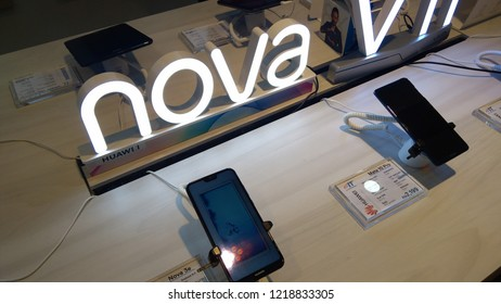 KUALA LUMPUR - November 1, 2018: A Nova 3i smartphone at an Honor store in Plaza Low Yat. Huawei Honor is a sub brand of the worlds largest telecommunications equipment manufacturer Huawei (China).