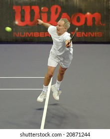 KUALA LUMPUR - NOVEMBER 18: John McEnroe of the U.S. in actions against Bjorn Borg of Sweden during an exhibition tennis match in Showdown of Champions November 18, 2008 in Kuala Lumpur, Malaysia.