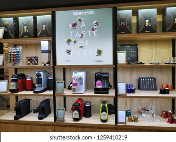 Kuala Lumpur - November, 2018: Interior shot of a Nespresso store in Kuala Lumpur, Malaysia. Nestlé Nespresso S.A., trading as Nespresso, is an operating unit of the Nestlé Group.