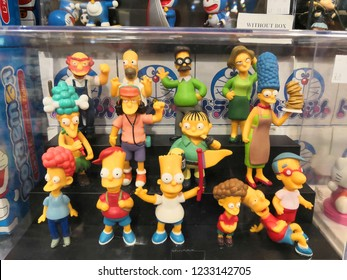 Kuala Lumpur , November 2018 : The Simpsons toys display for sale in toy store. The Simpsons is an American animated sitcom created by Matt Groening for the Fox Broadcasting Company.