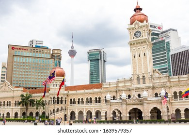 KUALA LUMPUR - NOVEMBER 9, 2019: Malaysian Flags Fluttering in front of the Sultan Abdul Samad Building, the Old Colonial Government Office