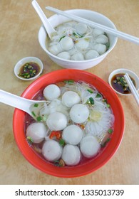 Kuala Lumpur popular eatery meal / Famous  Fishball Noodle Soup / Made from fresh wolf herring fish, comes in dry or soup and choice of yellow mee, flat rice noodle and vermicelli
