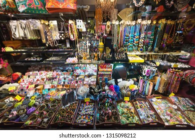 KUALA LUMPUR - SEPT 12, 2017: A handicraft shop at Central Market. It was founded in 1888 and originally used as a wet market while the current Art Deco style building was completed in 1937