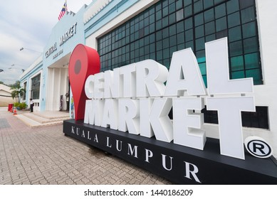 KUALA LUMPUR - SEPT 12, 2017: Central Market sign in front of its building. It was founded in 1888 and originally used as a wet market while the current Art Deco style building was completed in 1937