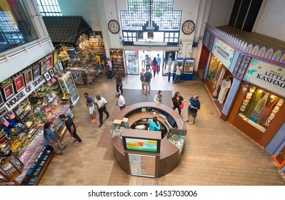 KUALA LUMPUR - SEPT 12, 2017: High angle view of the lobby of Central Market. It was founded in 1888 and originally used as a wet market while the current Art Deco style building was completed in 1937
