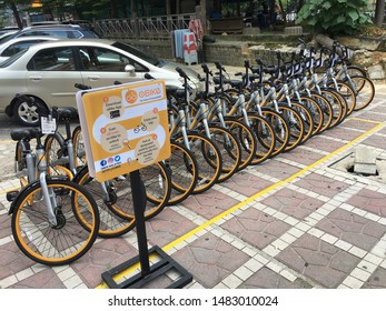 KUALA LUMPUR - SEPT 12, 2017: oBike bicycles at a docking station near China town. oBike is a Singapore based stationless bicycle sharing system with operations in several countries