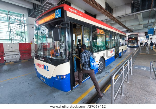 KUALA LUMPUR - SEPT. 12, 2017: A Rapid KL City bus at the Pasar Seni stop. Rapid KL is a public transportation system built by Prasarana Malaysia and operated by its subsidiaries