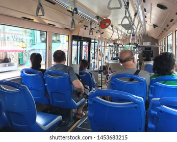 KUALA LUMPUR - SEPT. 13, 2016: Passengers in a Go KL City bus. Go KL City Bus (style as GOKL CityBus) is a free bus service that serving the city centre of Kuala Lumpur, Malaysia.