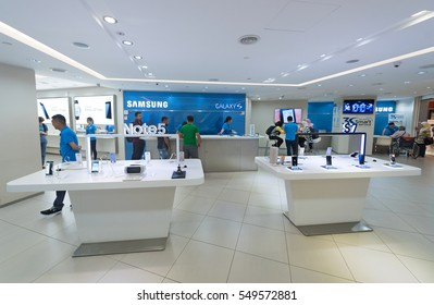 KUALA LUMPUR - SEPT. 13, 2016: Samsung Galaxy S7 Edge phones for sale in the Suria KLCC mall. They are Android smartphones manufactured and marketed by Samsung Electronics.