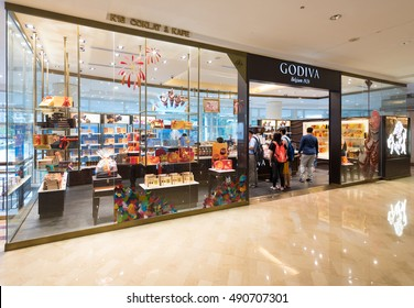 KUALA LUMPUR - SEPT. 14, 2016: The Godiva store of chocolate and coffee in the Suria KLCC mall. Godiva Chocolatier, founded in 1926, is a manufacturer of premium fine chocolates and related products.
