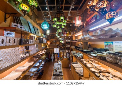 KUALA LUMPUR - SEPT 2017: Pearl and wooden dishes and home utensils at Central Market. It was founded in 1888 and used as a wet market while the current Art Deco style building was completed in 1937