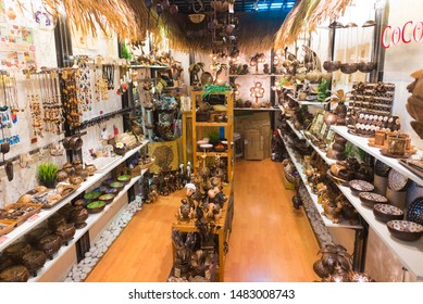 KUALA LUMPUR - SEPT 2017: A store of handmade articles made of coconut at Central Market. It was founded in 1888 and used as a wet market