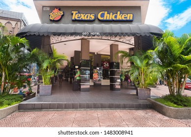 KUALA LUMPUR - SEPT 2017: A Texas Chicken restaurant located near the Central Market. Trading outside North America as Texas Chicken, Church's Chicken is an American chain of fast food restaurants.