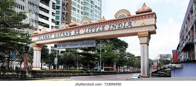 KUALA LUMPUR - SEPT 7, 2017: Panoramic view of the archway to Kuala Lumpur Little India, Brickfields, KL. Brickfields Little India host the largest Indian community in Malaysia.