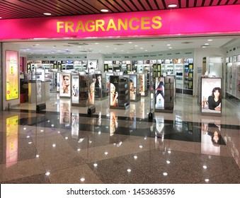 KUALA LUMPUR - SEPTEMBER 11, 2017: Fragrances store of high end perfumes at the departure area of the Kuala Lumpur Airport. It is one of the major airports in South East Asia