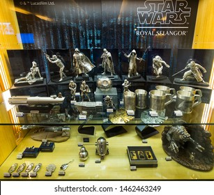 KUALA LUMPUR - SEPTEMBER 12, 2017: Star Wars pewter figurines by Royal Selangor at Central market. Royal Selangor is a Malaysian pewter manufacturer and retailer, the largest of its type in the world.