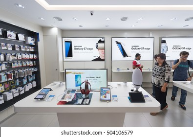 KUALA LUMPUR - SEPTEMBER 13, 2016: People at the Samsung store in the Suria KLCC. Samsung Electronics Co., Ltd. is the worlds second largest information technology company by revenue, after Apple.