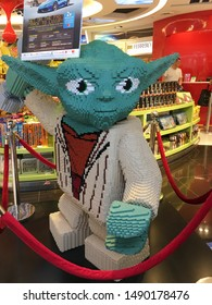 KUALA LUMPUR - SEPTEMBER 14, 2017: A big figure of Star Wars master Yoda made of numerous building blocks at Kuala Lumpur International airport.