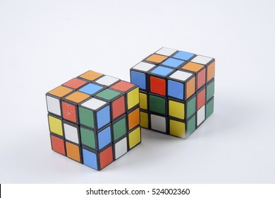 KUALA LUMPUR, SEPTEMBER 16, 2016: Rubik's Cube on the  white  Background, Free Space for Text