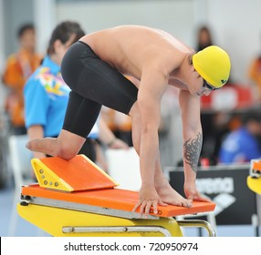 KUALA LUMPUR - SEPTEMBER 22, 2017: A paralympic athlete preparing to swim at the 9th Asean Para Games on September 22, 2017 at the National Aquatic Center, Kuala Lumpur.