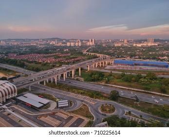 Kuala Lumpur:  September 7 2017, Aerial view of LRT railway track taken at Putra Heights, Selangor Malaysia.