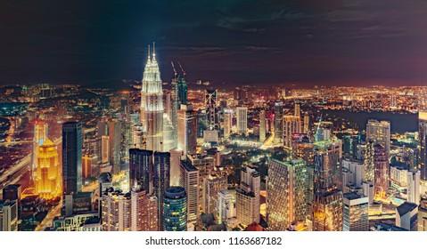 Kuala Lumpur skyline aerial night view