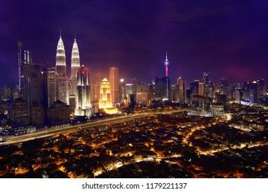kuala lumpur skyline of commercial building and undeveloped kampung baru