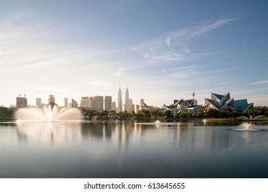 Kuala Lumpur skyline and fountation at Titiwangsa Park in Kuala Lumpur. Malaysia.
