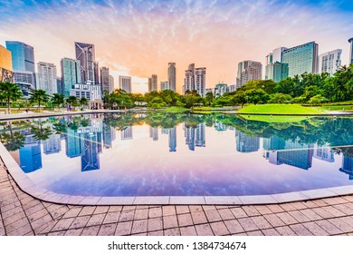 Kuala Lumpur skyline. Located in KLCC Park, Kuala Lumpur, Malaysia.
