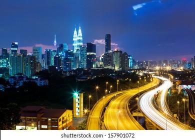 Kuala Lumpur skyline at night