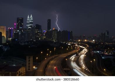 Kuala Lumpur Skyline at night with lighting