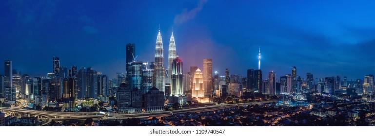 Kuala lumpur skyline at night, Malaysia, Kuala lumpur is capital city of Malaysia.