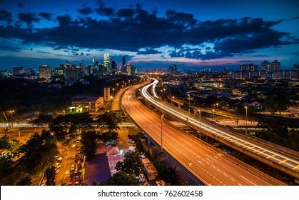 Kuala lumpur skyline in the night, Kuala lumpur Malaysia. Soft focus due to long exposure