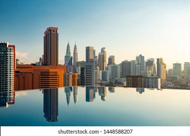 Kuala Lumpur skyline pool view