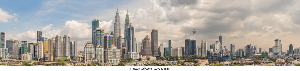 Kuala Lumpur skyline, view of the city, skyscrapers with a beautiful sky in the afternoon