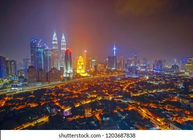 Kuala Lumpur skyscrapper landscape view at night