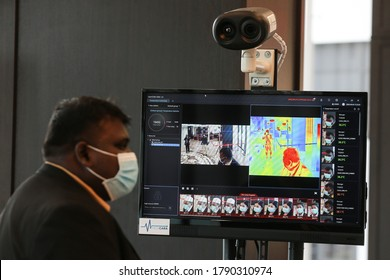 Kuala Lumpur,5 August 2020-Malaysia.A thermal scanner monitor visitors body temperature to curb covid 19 pandemic in Kuala Lumpur.