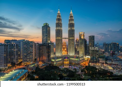 KUALA LUMPUR/MALAYSIA - 04/14/2016: The Amazing of Architecture of KLCC formerly known as Petronas Twin Towers Malaysia