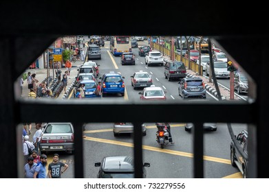KUALA LUMPUR,MALAYSIA 07 OCTOBER 2017 - Heavy traffic in Petaling Street, Kuala Lumpur, Malaysia.