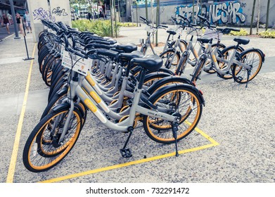 Kuala Lumpur,Malaysia 07 OCTOBER 2017: Obike parked in the bicycle sharing station on Petaling Street, Malaysia