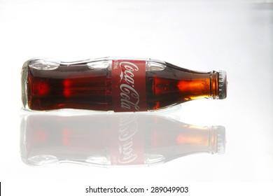 kuala Lumpur,Malaysia 16th April 2015,Editorial photo of Classic Coca-Cola Bottle with water splash