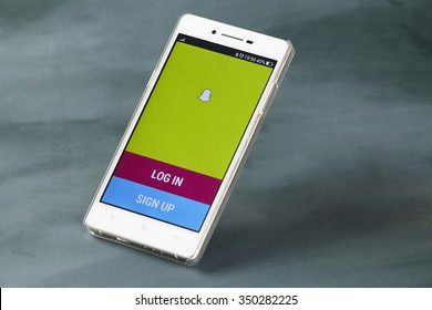 kuala lumpur-malaysia, 16th november 2015,smart phone display with snap chat log in page