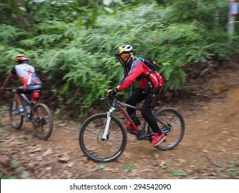 Kuala Lumpur,Malaysia 8th July 2015, a panning shot of a cycling jamboree which held yearly in Saujana Utama ,Malaysia