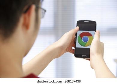 Kuala Lumpur,Malaysia 9th April 2015,Closeup photo of Google Chrome icon on mobile phone screen