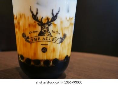 Kuala Lumpur,Malaysia - April 7,2018 : The Alley most famous milk tea is Brown Sugar Deerioca Milk